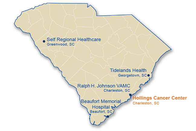 South Carolina map showing MUSC NCORP sites