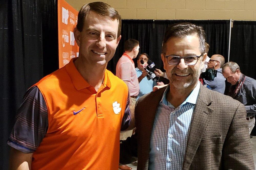 Coach Dabo Swinney and Gustavo Leone