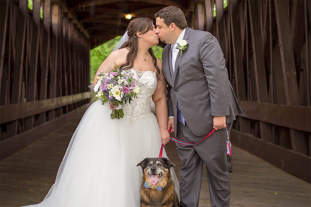 Miranda Brown kisses her husband Andrew on their wedding day as they stand on a bridge with their dog