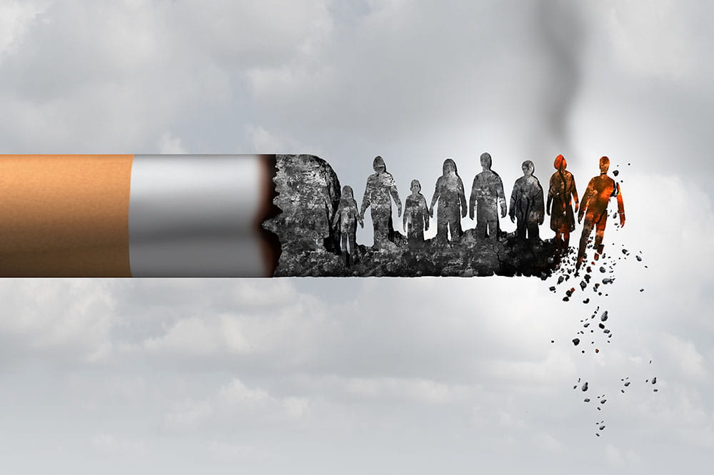 illustration of a cigarette with the ash shaped like people and the person at the end is falling